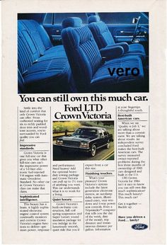 vintage FORD LTD CROWN VICTORIA 1983 print ad mag page clipping car automobile
