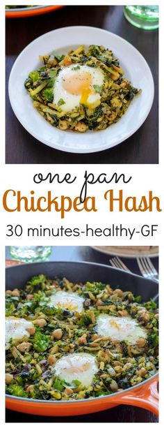 An easy, healthy 30 minute meal! Curried Chickpea Hash with Broccoli and Spinach. {Gluten Free}
