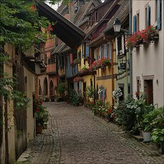 Lovely alley of Alsace village, France Places Around The World, Oh The Places You'll Go, Places To Travel, Places To Visit, Around The Worlds, Beautiful World, Beautiful Places, Beautiful Streets, Beautiful Buildings