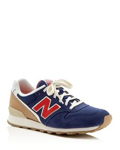New Balance Womens' Lakeview Lace Up Sneakers - Refreshed in fun color palettes, New Balance's suede-paneled sneakers stay true to their retro-cool roots with gum rubber outsoles and pops of burlap at the heel.