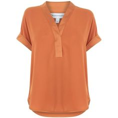Warehouse Satin Mix Blouse ($40) ❤ liked on Polyvore featuring tops, blouses, orange, women, dressy blouses, orange top, fancy shirts, satin top and red satin top