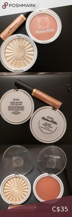 """🆕 Ofra & Tarte. Highlighter, Blush, Gloss Bundle Full sized items: Tarteist Lip Paint Gloss in shade """"Insta-famous"""". Sheer pink with multicolored reflects. 6ml/0.2 FL oz. Retail: $27 Ofra x Madison Miller Blush """"Sweet Stuff"""". Dusty nude pink. 10g/0.35oz. Retail $29 Ofra Highlighter """"Star Island"""". Glimmering pearl with champagne undertones. 10g/0.35oz. Retail: $35 All were recieved in either Glossybox or Boxycharm and have only been used to swatch. Trying to declutter products I've never… Lipstick Set, Liquid Lipstick, Madison Miller, Tarteist Lip Paint, Blue Palette, Tee Tree, Pretty Lights, Nude Color"""