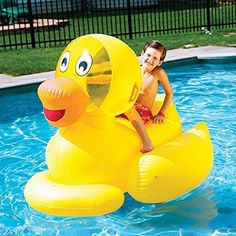 Swim Time Adorable Rideable Inflatable Giant Ducky Water Toy -- Continue to the product at the image link.(It is Amazon affiliate link) #followbackteam