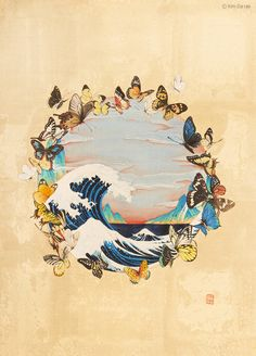 """김다래 Kim Da rae 바다에 젖어들다 30x42cm 비단에 채색 2016 """"내 20대 초반을 함께 해준 남자친구에게 기쁨의 나비를 드립니다. 나비처럼 가볍게 너의 꿈을 향해 날아가기를!""""배경은 비단 뒷면에 금박을 붙여서 실제로 보면 은은하게 빛나요. 푸른 파도와 아름다운 나비때 아름다워요! 이 작품은 2부에서 직접 보실 수 있습니다."""