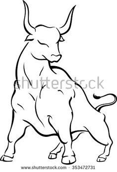 Bull Stance-Line Art of brave/ strong bull