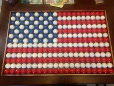 American flag made of golf balls