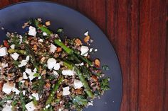 Nutty quinoa and asparagus salad recipe, Bite – visit Eat Well for New Zealand recipes using local ingredients - Eat Well (formerly Bite) Toasted Pumpkin Seeds, Toasted Sesame Seeds, Toasted Almonds, Asparagus Spears, Asparagus Salad, Large Salad Bowl, Salad Bowls, Quinoa Salad, Feta