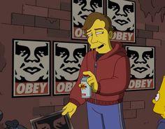 Capitulo de los Simpsons donde aparece Shepard Fairey y su famoso stencil Obey.