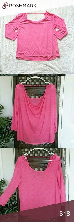 American Eagle Pink Lightweight Tee Very lightweight and slightly sheer with 3/4 sleeves. Would be cute over a bikini top with Jean shorts. There is a small hole on the right shoulder. No stains, snags, or pilling. Non smoking home. American Eagle Outfitters Tops Tees - Long Sleeve