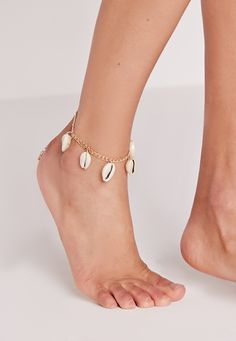 Missguided - Gold Shell Charm Anklet
