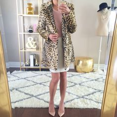 Leopard coat, blush tee, white pencil skirt and Christian Louboutin pigalle nude pumps /// Click the following link to see outfit details and photos: http://www.stylishpetite.com/2015/03/instagram-lately-daily-outifts.html