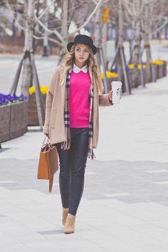 camel Choies coat - hot pink Wool Overs sweater - brown Daniel Wellington watch