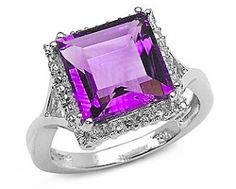 Sterling Silver Genuine Amethyst Ring: Lovely Sterling genuine Amethyst ring is ultimate accessory. Beautiful jewelry features square-cut gemstone with glimmering enclosure. Lustrous ring will add a classic touch of style to any ensemble. Finely set in .925 Sterling Silver.