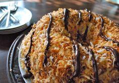 Samoa Cookie Cake Recipe. The best cake you'll ever make.