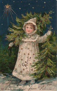 Vintage Christmas Postcards I believe this is a German Christmas postcard.  This young girl is getting several Christmas trees!