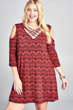 3 4 Sleeve V Neck Crisscross Plus Size Dress c372428f4d63