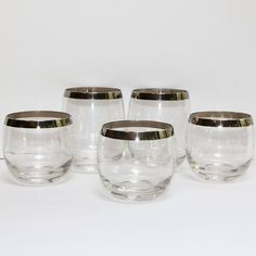 Vintage Silver Band Roly Poly Cocktail Glasses Retro