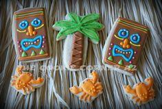 Hawaiian cookies Palm tree cookie crab cookie tiki head cookie