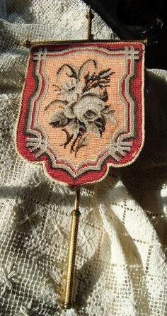 "~ Wonderful ""Victorian"" Beadwork & Needlepoint Face Screen ~"