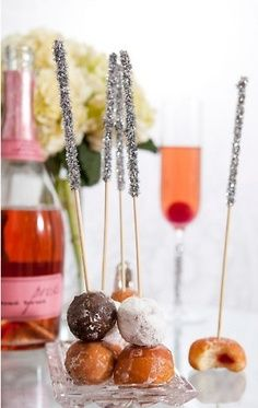 GET DONUTHOLES DAY OF and add to desert bar like this  D WILL MAKE STICKS