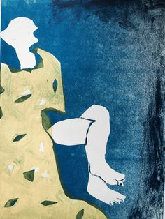 """Holly Froy """"Yellow Scarf"""" Monoprint on paper"""