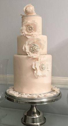 The Cake Lab Bakery, Ranelagh, Dublin, Ireland. Artisan Baking Studio.  3 tier wedding cake.  Blush pink with sugar Peony roses and diamante brooch centers and edge trim.