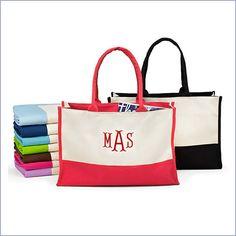 Monogram Color Block Canvas Tote Bag. The perfect bridesmaid gift!