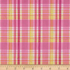 Minky Candy Plaid Pink/Yellow from @fabricdotcom  This minky fabric has an extremely soft 3 mm pile that's perfect for apparel, blankets, throws, pillows and stuffed animals. Colors include yellow, orange, white and pink.