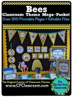 BEES Classroom Theme EDITABLE Decor 34 Printable Product Bundle - 200+ pages - $ - You get 34 products for only $0.35 each with download! This beautiful, organized packet will make your learning environment the talk of the school! Students, parents, colleagues, and administrators will be oohing and ahhing! With purchase you receive nameplates, labels, number tags, calendar set, hundred chart, tooth tally, days of the week labels, bookmarks, and MUCH MORE! Click through to see it all!