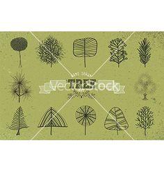 Custom hand drawn tree icons set vector by cienpies on VectorStock®