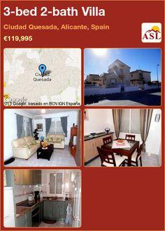 3-bed 2-bath Villa in Ciudad Quesada, Alicante, Spain ►€119,995 #PropertyForSaleInSpain