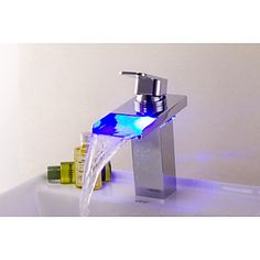 Bathtub Faucet Contemporary LED/Waterfall Brass Chrome/Bathroom Waterfall Faucet Mixer/LED Faucet - USD $ 98.99