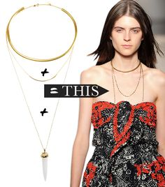 Diff. types of chains varying lengths. 1. A Choker-sleek and minimalistic. Anchors the entire combo, should be the thickest piece of the trio and rest at your collarbone. 2. Add A Bar Necklace-slightly longer than the choker...a delicate chain, which acts as a foil to the choker's thicker silhouette, that's approx 22 to 24-inches 3. A Pendant.-Last necklace-the longest piece, one with a pendant. Opt for a chain that's 30 to 32-inches in the same metal family as other pieces