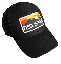 Peace Within Black trucker hat mountain/sun logo – peace within.