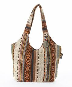 Orange & White Stripe Hobo Bag