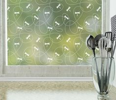 Dragonflies Privacy Window Film (Non-adhesive)