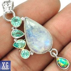 SP27004 MOONSTONE, FIRE OPAL & BLUE TOPAZ 925 STERLING SILVER PENDANT JEWELRY #Pendant