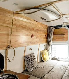 Surfboard rack done ✔️ It can fit up to three shortboards (two with fins, one without) just by loosening the rope Surfboard Storage, Surfboard Rack, Surfboard Fins, Surfboards, Bus Camper, Rv Campers, Camper Life, Surf Bus, Rangement Caravaning