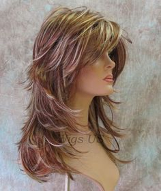Long Hair Models - Long Wig Choppy Layers Lots-of-Motion Auburn Strawberry Blond Womens Wigs - Haarschnitt - Frontal Hairstyles, Wig Hairstyles, Straight Hairstyles, Long Shag Hairstyles, Fancy Hairstyles, Ladies Hairstyles, Updos Hairstyle, Hairdos, Hairstyle Ideas
