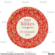 Christmas paisley red name holiday paper plate