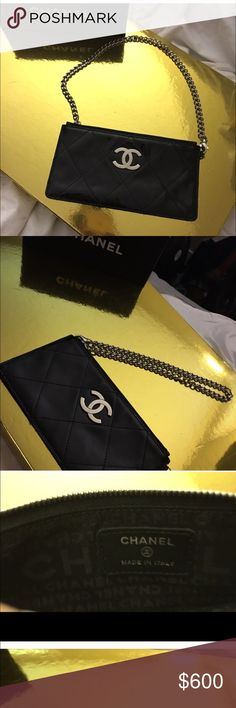 Black patent leather Chanel clutch/wristlet Black patent leather classic logo in silver C's classic Chanel quilted pattern. 100% authentic never been carried more info on the photo below. Person who purchased fist time was a scammer. In perfect condition. Can get authenticity card and duster from Nordstrom for a little more in price if requested. Silver hardware and interchangeable silver chain handle from classic handle to wristlet handle. Chanel Bags Clutches & Wristlets