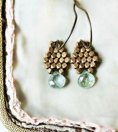 Aquamarine Brass Drop Earrings
