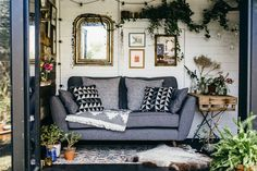 Today I am feeling super lucky today as I can share our latest autumn update for the Tea shed. Kettle on, feet up - we have a sofa in there! Sofa Layout, Living Room Sofa, Living Room Sets, Single Seat Sofa, Dfs Zinc Sofa, Home Decor, Living Room Furniture Layout, Blue Sofa Living, French Connection Sofa