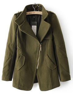 Green Lapel Long Sleeve Zipper Epaulet Coat