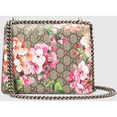 Gucci Dionysus Gg Blooms Mini Bag ($1,430) ❤ liked on Polyvore featuring bags, handbags, floral print purse, gucci, chain strap purse, canvas handbags and flap handbags