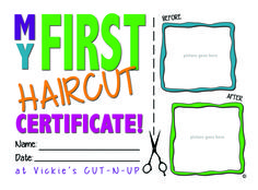Baby's First Haircut Certificate. $25. #fuhrmannmedia #babysfirsthaircut  www.facebook.com/fuhrmannmedia