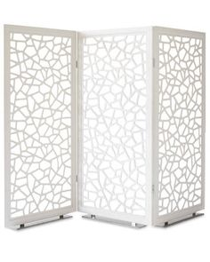 """MOUCHARABIEH SCREEN BY JEAN-MARIE MASSAUD FOR POLTRONA FRAU Like the  openwork design -- ideal for defining areas in a loft without blocking views. Height: 71.25""""; panel width: 35.5""""; extended width: 107.75""""; panel depth: .75""""; base depth: 4.75""""; material: steel, aluminum, and plastic frame wrapped in SC04 Latte leather with chrome-finished steel base (also available as a two-panel screen and in other leathers); d price: $8,000;"""