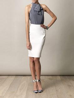 Grey Silk Top with Cut Away Shoulders - Balenciaga | White High Waist Pencil Skirt - Lanvin