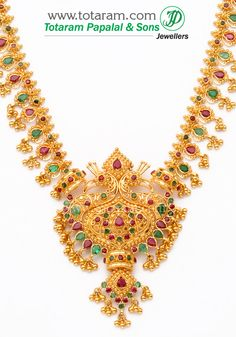 22 Karat Gold Ruby & Emerald Necklace & Ear Hangings - Indian Gold Jewelry from Totaram Jewelers Gold Ruby Necklace, Gold Jhumka Earrings, Gold Earrings Designs, Gold Jewellery Design, Necklace Designs, Drop Earrings, Gold Jewelry Simple, Simple Necklace, Jewelry Patterns