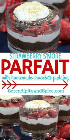 This Strawberry S'more Parfait with Homemade Chocolate Pudding Recipe is so delicious and simple to make. What goes better than chocolate and strawberries? Strawberries, cream, and homemade chocolate pudding! Easy Desserts, Delicious Desserts, Dessert Recipes, Yummy Food, Sweet Desserts, Healthy Desserts, Dessert Ideas, Homemade Chocolate Pudding, Making Chocolate